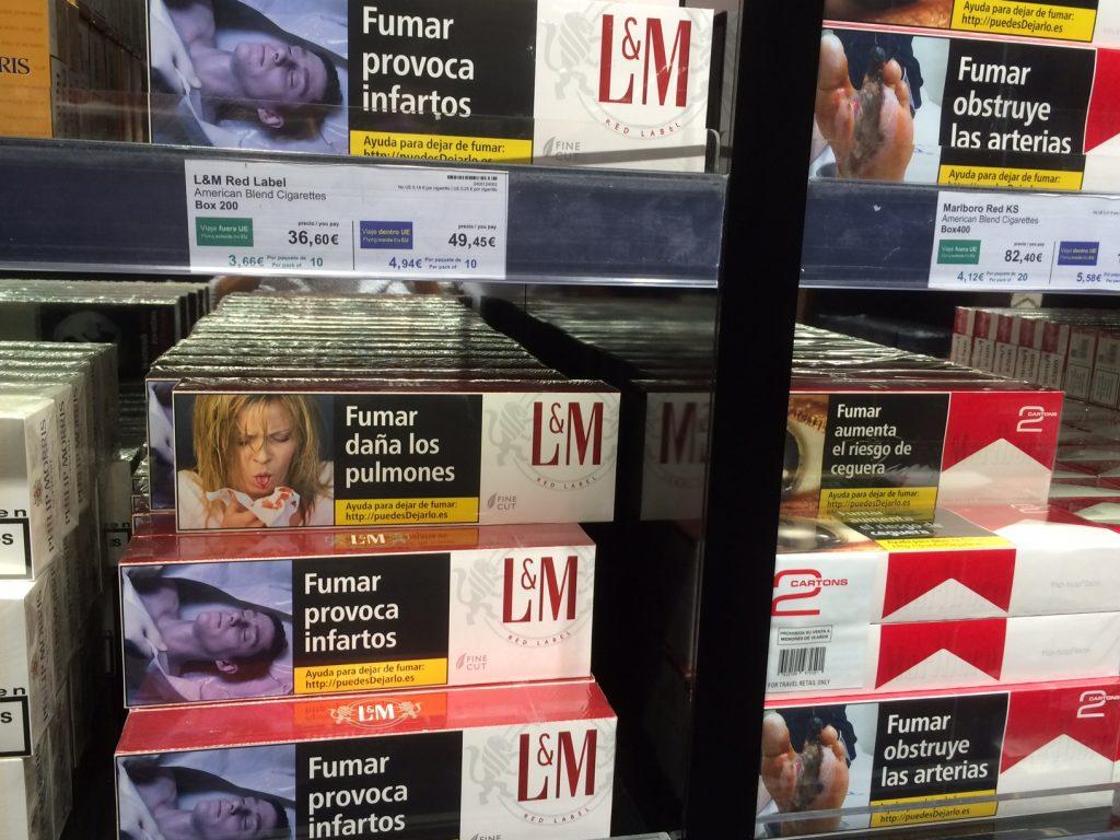Cigarettes Espagne photo-choc